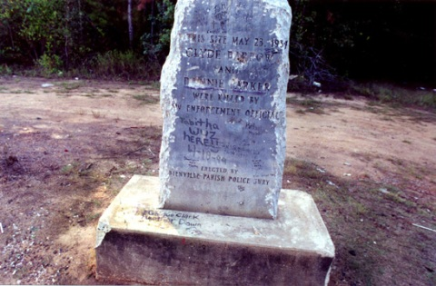 Bonnie and Clyde massacre site-marker outside Gibsland Louisiana
