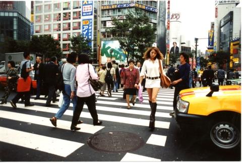 woman. crosswalk shibuya tokyo